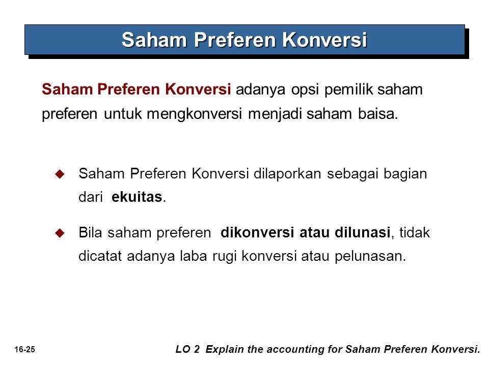 16-25   Saham Preferen Konversi dilaporkan sebagai bagian dari ekuitas.   Bila saham preferen dikonversi atau dilunasi, tidak dicatat adanya laba