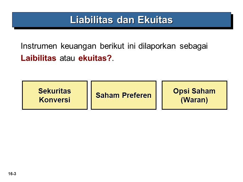 16-3 Liabilitas dan Ekuitas Opsi Saham (Waran) Sekuritas Konversi Saham Preferen Instrumen keuangan berikut ini dilaporkan sebagai Laibilitas atau eku