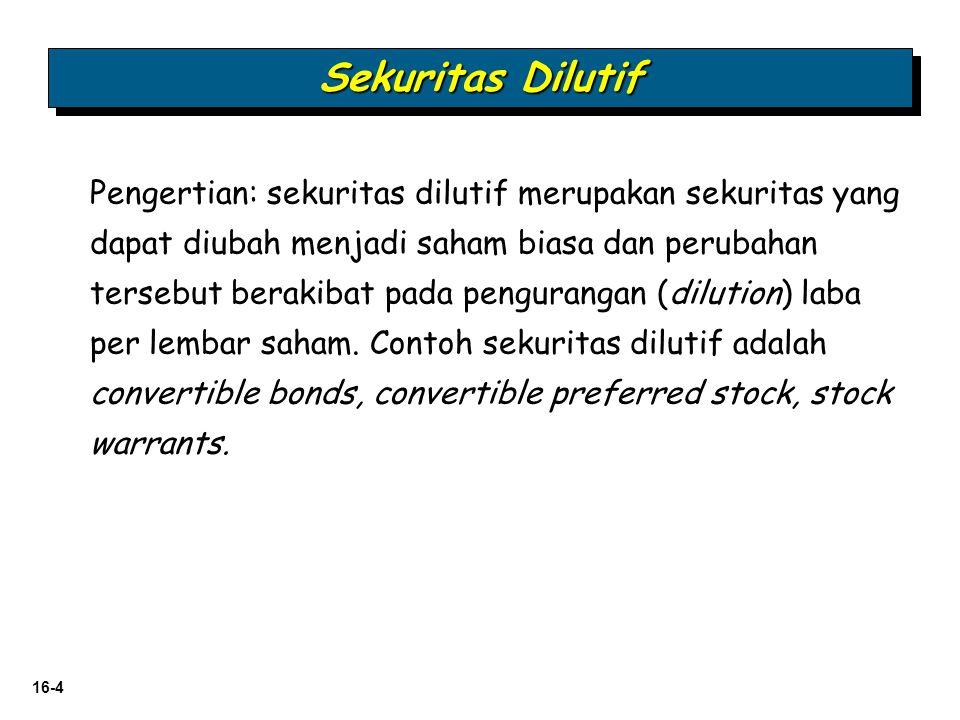 16-25   Saham Preferen Konversi dilaporkan sebagai bagian dari ekuitas.