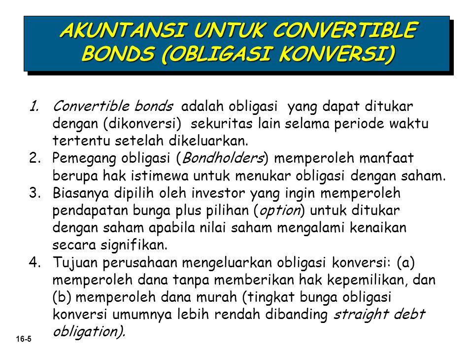 16-6 (atas kehendak pemegang) Manfaat Obligasi (bunga dan pokok yang dijamin) Keistimewaan ditukar menjadi saham Obligasi dapat diubah menjadi saham perusahaan tersebut.