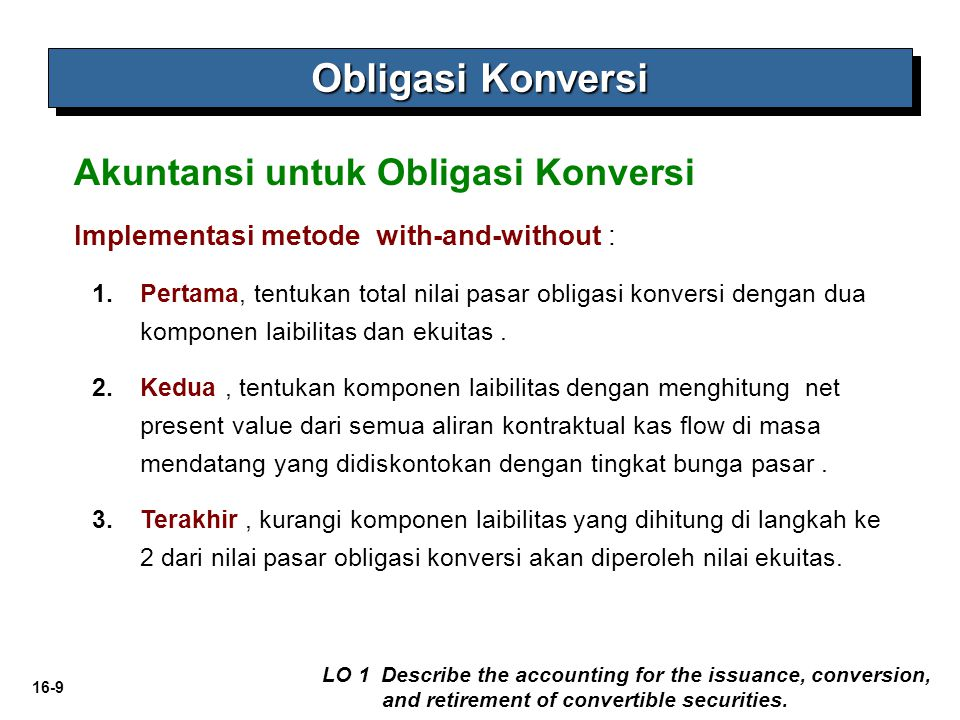 16-10 Pada saat pengeluaran Obligasi Konversi LO 1 Describe the accounting for the issuance, conversion, and retirement of convertible securities.