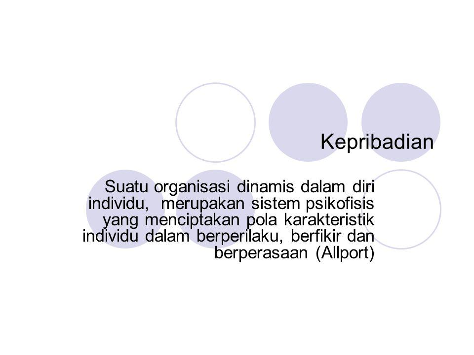 Kepribadian Suatu organisasi dinamis dalam diri individu, merupakan sistem psikofisis yang menciptakan pola karakteristik individu dalam berperilaku,