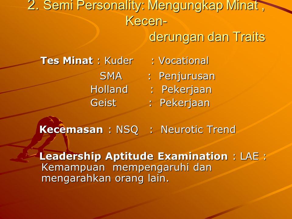 2. Semi Personality: Mengungkap Minat, Kecen- derungan dan Traits Tes Minat : Kuder : Vocational Tes Minat : Kuder : Vocational SMA : Penjurusan SMA :