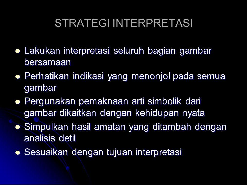 STRATEGI INTERPRETASI Lakukan interpretasi seluruh bagian gambar bersamaan Lakukan interpretasi seluruh bagian gambar bersamaan Perhatikan indikasi ya
