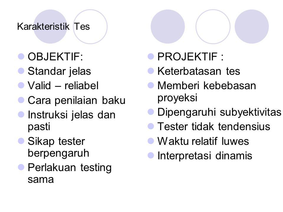 Karakteristik Tes OBJEKTIF: Standar jelas Valid – reliabel Cara penilaian baku Instruksi jelas dan pasti Sikap tester berpengaruh Perlakuan testing sa