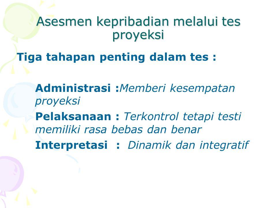 Asesmen kepribadian melalui tes proyeksi Tiga tahapan penting dalam tes : Administrasi :Memberi kesempatan proyeksi Pelaksanaan : Terkontrol tetapi te