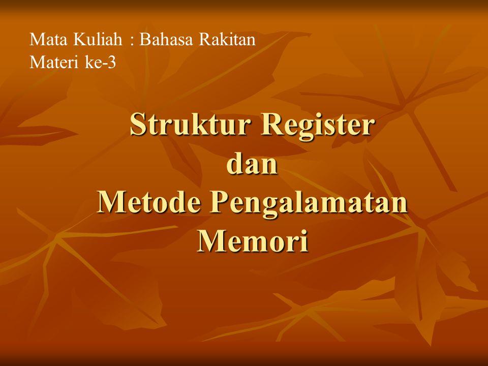 Struktur Register dan Metode Pengalamatan Memori Mata Kuliah : Bahasa Rakitan Materi ke-3