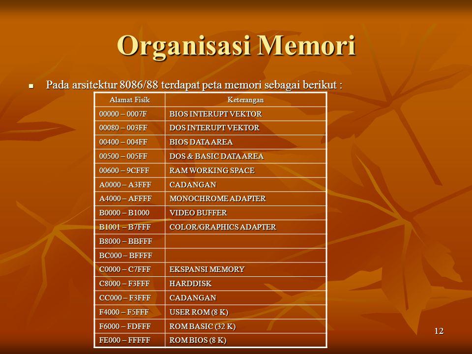 12 Pada arsitektur 8086/88 terdapat peta memori sebagai berikut : Pada arsitektur 8086/88 terdapat peta memori sebagai berikut : Alamat Fisik Keterang