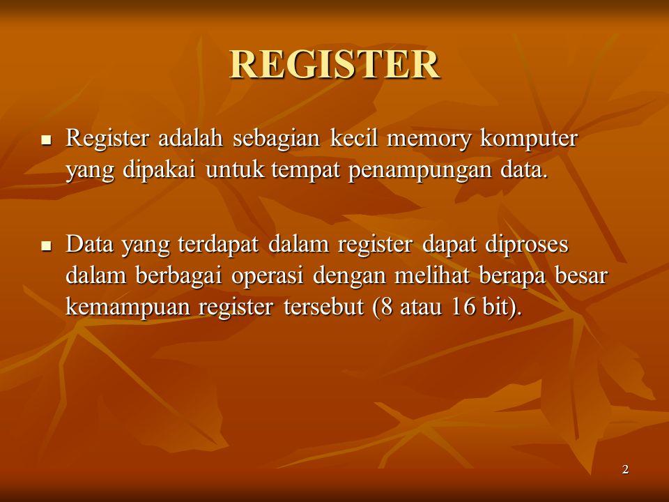 2 REGISTER Register adalah sebagian kecil memory komputer yang dipakai untuk tempat penampungan data. Register adalah sebagian kecil memory komputer y
