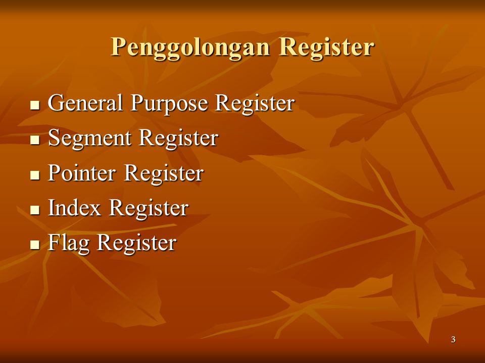 3 Penggolongan Register General Purpose Register General Purpose Register Segment Register Segment Register Pointer Register Pointer Register Index Re