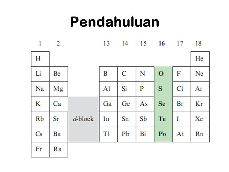 Kesimpulan Golongan Kalkogen memiliki elektron valensi berjumlah 6 Titik didih dari atas ke bawah semakin besar Titik lebur dari atas ke bawah semakin besar kecuali Unsur Polonium (254) Massa jenis dari atas ke bawah semakin besar.