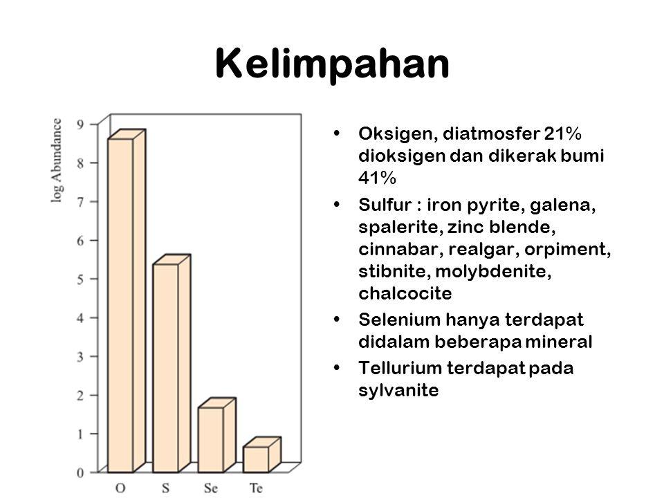 Kelimpahan Oksigen, diatmosfer 21% dioksigen dan dikerak bumi 41% Sulfur : iron pyrite, galena, spalerite, zinc blende, cinnabar, realgar, orpiment, stibnite, molybdenite, chalcocite Selenium hanya terdapat didalam beberapa mineral Tellurium terdapat pada sylvanite