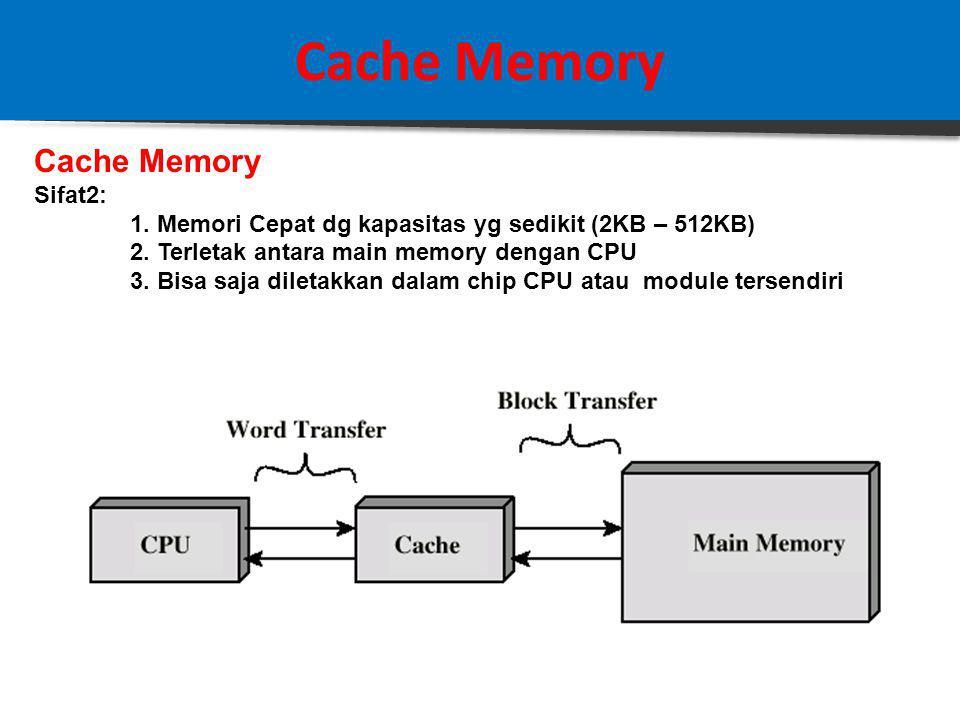 Cache Memory Studi Kasus : Direct Mapping Jika diketahui sebuah sistem komputer dengan Main Memory = 16 MB, dilengkapi dengan Cache = 64 kB, 1 Block Data = 4 byte Ditanyakan: Struktur Address Direct Mapping Solusi: 16 MB memory memiliki total address sebanyak 2 24 = 16.777.216 (a) TOTAL field = 24 bit (16 M = 2 24 ) (b) WORD field = 2 bit ( 1 block = 4 = 2 2 ) ( c) TAG field = 8 bit(16 M / 64 k = 256= 2 8 ) (d) SLOT field = (24 – 2 – 8 ) = 14 bit