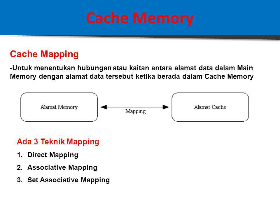 Cache Memory Cache Mapping -Untuk menentukan hubungan atau kaitan antara alamat data dalam Main Memory dengan alamat data tersebut ketika berada dalam Cache Memory Ada 3 Teknik Mapping 1.Direct Mapping 2.Associative Mapping 3.Set Associative Mapping