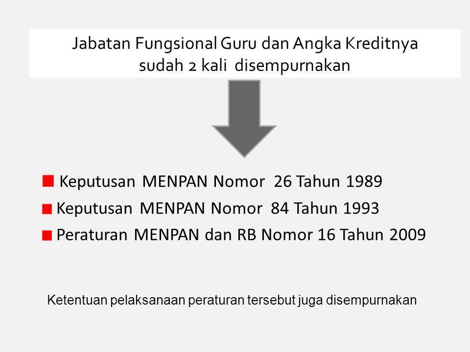 Keputusan MENPAN Nomor 26 Tahun 1989 Keputusan MENPAN Nomor 84 Tahun 1993 Peraturan MENPAN dan RB Nomor 16 Tahun 2009 Jabatan Fungsional Guru dan Angka Kreditnya sudah 2 kali disempurnakan Ketentuan pelaksanaan peraturan tersebut juga disempurnakan