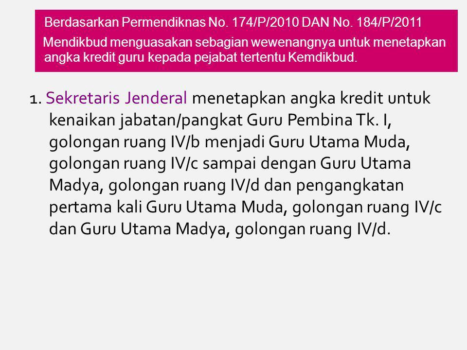 Berdasarkan Permendiknas No.174/P/2010 DAN No.