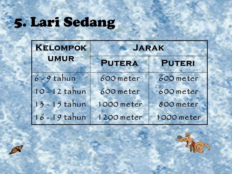 5. Lari Sedang Kelompok umur Jarak PuteraPuteri 6 - 9 tahun 10 - 12 tahun 13 - 15 tahun 16 - 19 tahun 600 meter 1000 meter 1200 meter 600 meter 800 me
