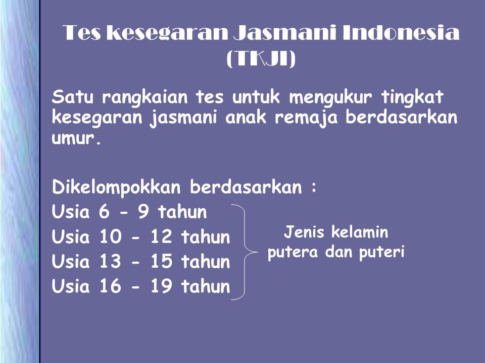 Tes kesegaran Jasmani Indonesia (TKJI) Satu rangkaian tes untuk mengukur tingkat kesegaran jasmani anak remaja berdasarkan umur. Dikelompokkan berdasa