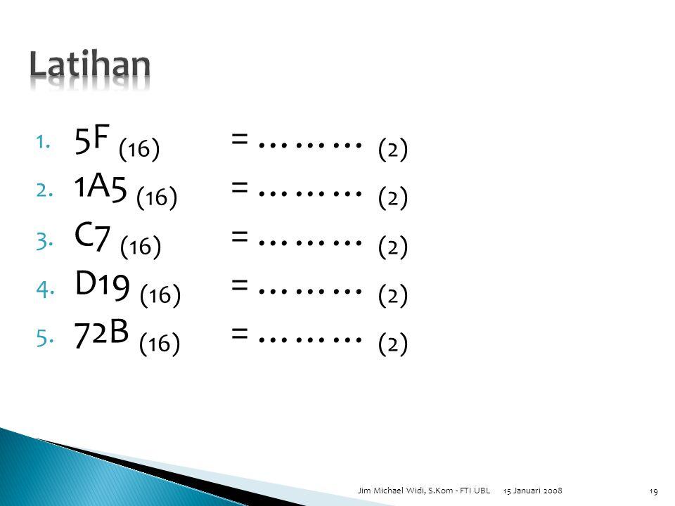 1. 5F (16) = ……… (2) 2. 1A5 (16) = ……… (2) 3. C7 (16) = ……… (2) 4.