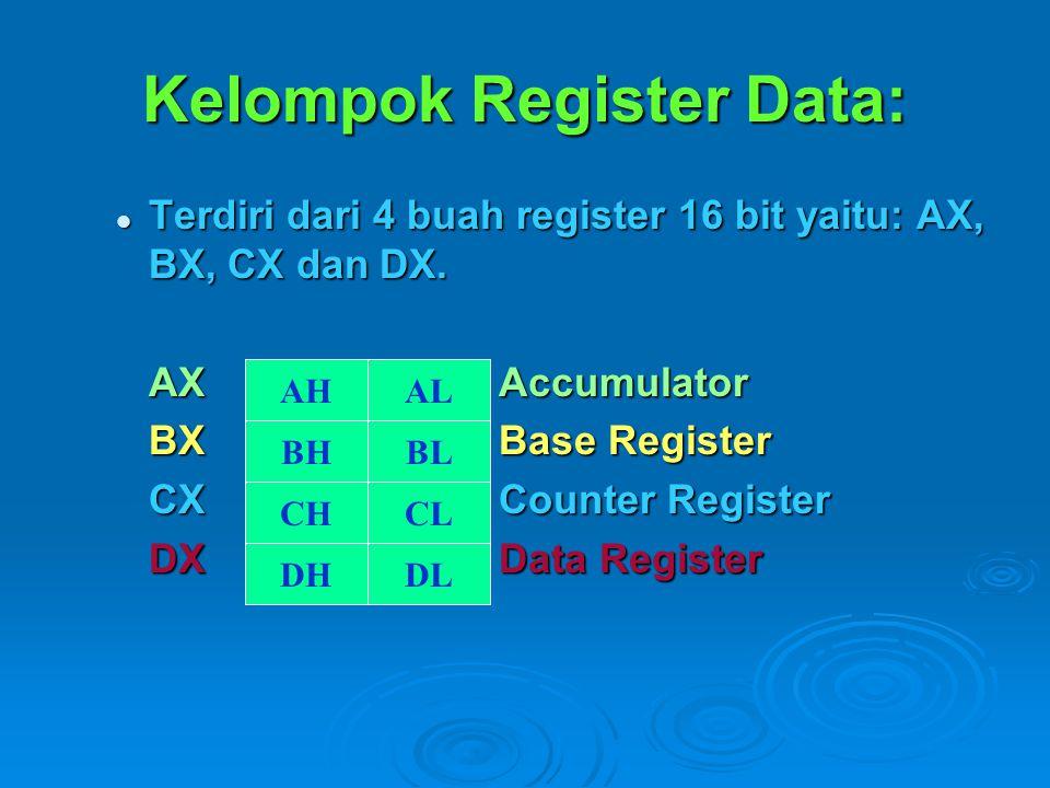 Kelompok Register Data: Terdiri dari 4 buah register 16 bit yaitu: AX, BX, CX dan DX.