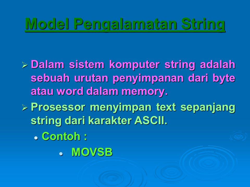 Model Pengalamatan String  Dalam sistem komputer string adalah sebuah urutan penyimpanan dari byte atau word dalam memory.