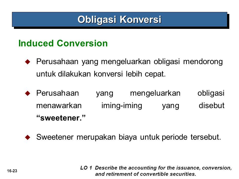 16-23   Perusahaan yang mengeluarkan obligasi mendorong untuk dilakukan konversi lebih cepat.   Perusahaan yang mengeluarkan obligasi menawarkan i