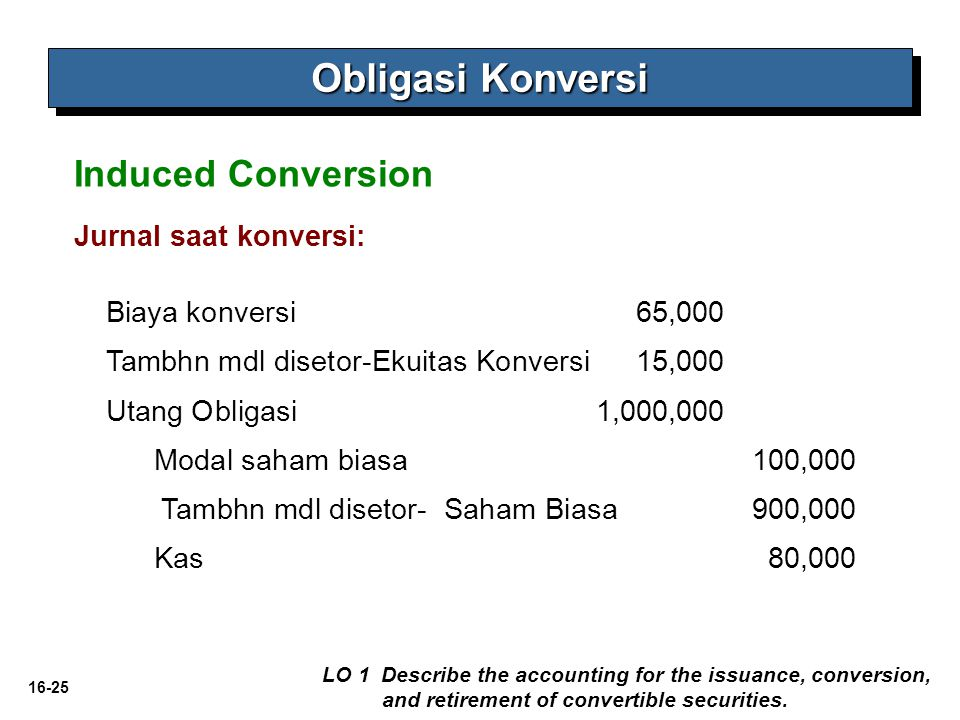 16-25 Obligasi Konversi LO 1 Describe the accounting for the issuance, conversion, and retirement of convertible securities. Induced Conversion Jurnal