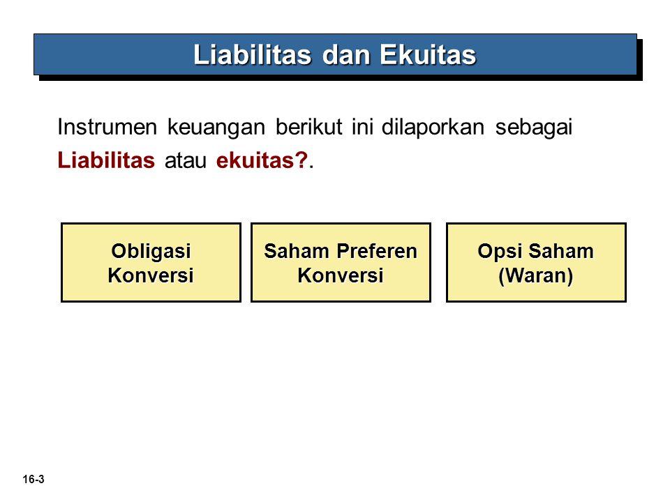 16-3 Liabilitas dan Ekuitas Opsi Saham (Waran) Obligasi Konversi Saham Preferen Konversi Instrumen keuangan berikut ini dilaporkan sebagai Liabilitas