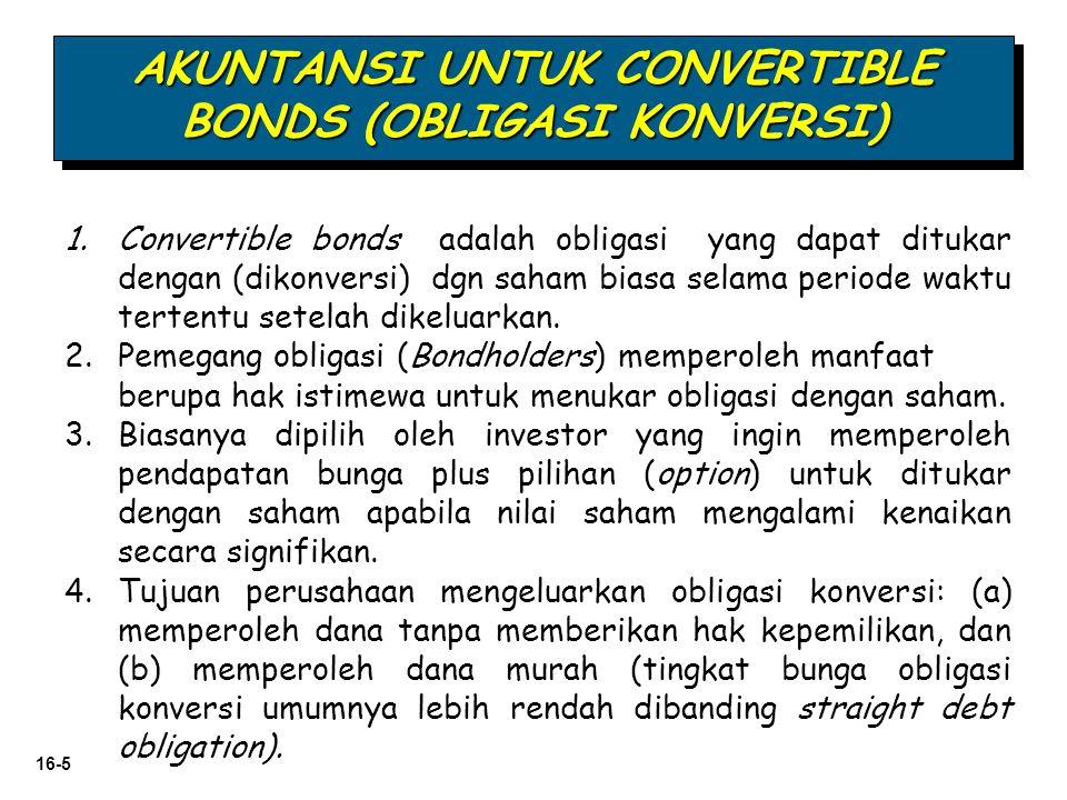 16-5 1.Convertible bonds adalah obligasi yang dapat ditukar dengan (dikonversi) dgn saham biasa selama periode waktu tertentu setelah dikeluarkan. 2.P