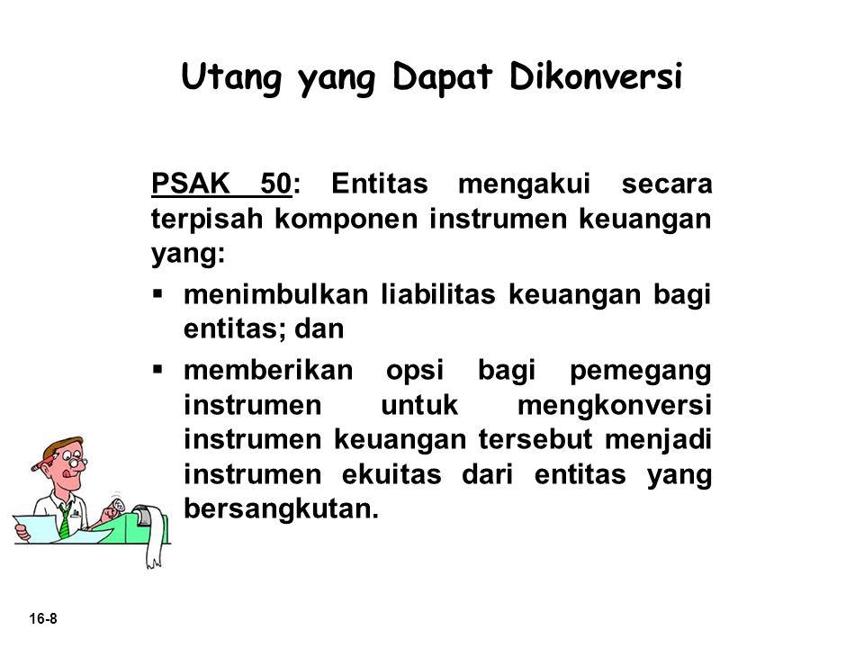 16-8 PSAK 50: Entitas mengakui secara terpisah komponen instrumen keuangan yang:  menimbulkan liabilitas keuangan bagi entitas; dan  memberikan opsi