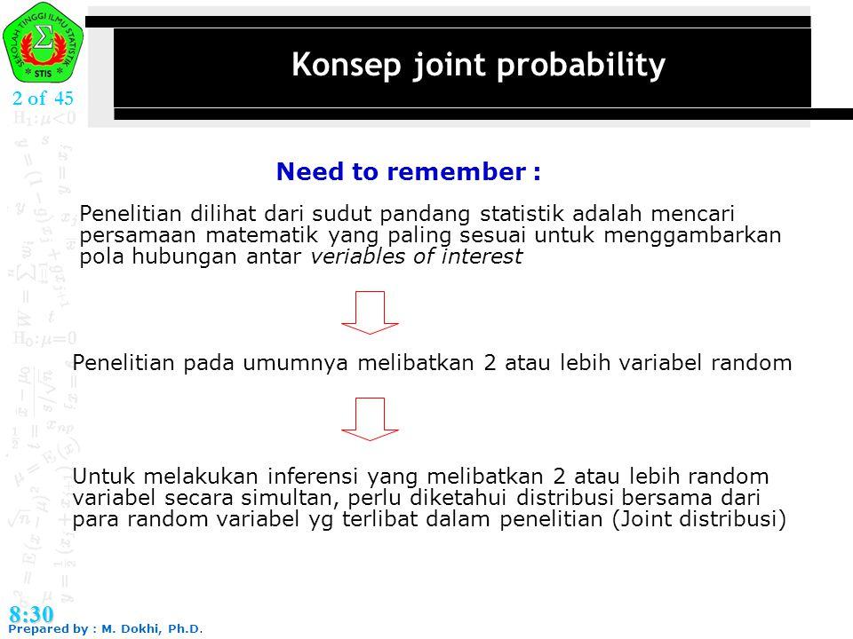 Prepared by : M. Dokhi, Ph.D. 8:30 2 of 45 Konsep joint probability Penelitian dilihat dari sudut pandang statistik adalah mencari persamaan matematik