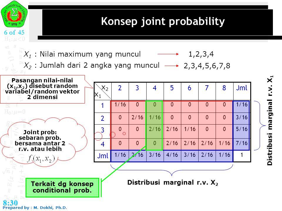 Prepared by : M. Dokhi, Ph.D. 8:30 6 of 45 Konsep joint probability X 1 : Nilai maximum yang muncul X 2 : Jumlah dari 2 angka yang muncul 1,2,3,4 2,3,