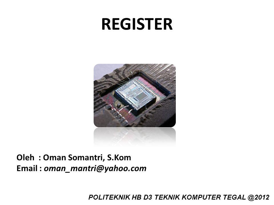 REGISTER Oleh : Oman Somantri, S.Kom Email : oman_mantri@yahoo.com POLITEKNIK HB D3 TEKNIK KOMPUTER TEGAL @2012