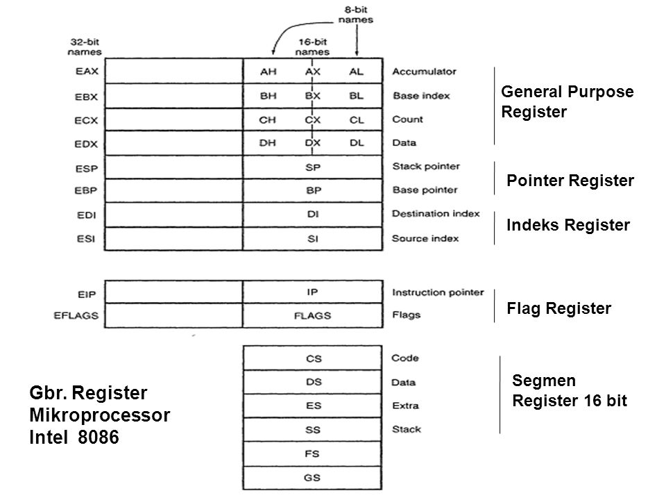 General Purpose Register Pointer Register Indeks Register Segmen Register 16 bit Flag Register Gbr. Register Mikroprocessor Intel 8086