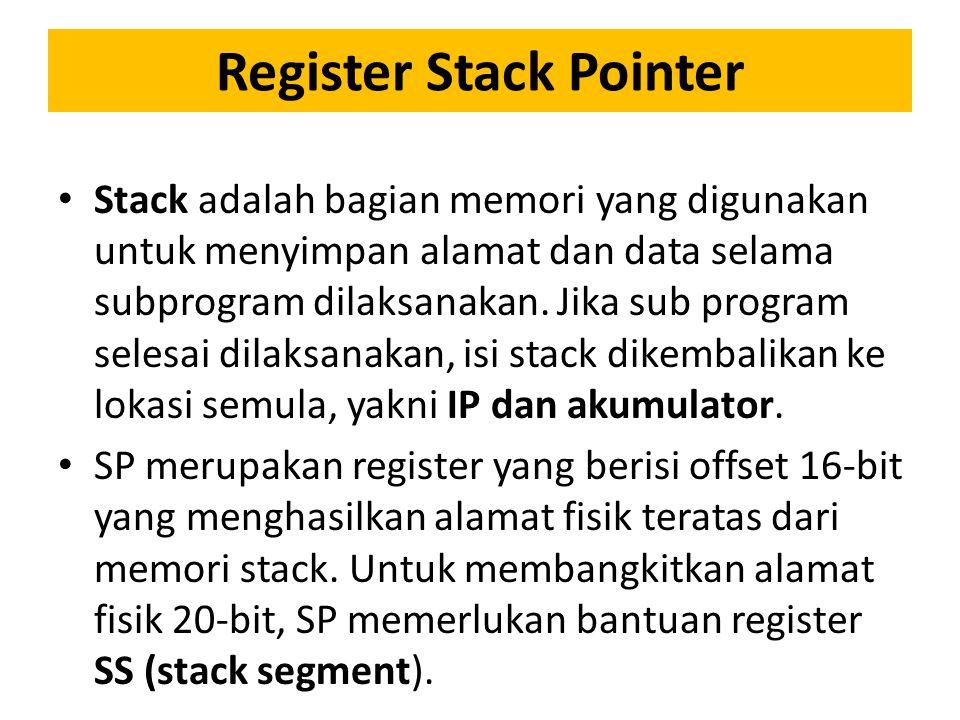 Register Stack Pointer Stack adalah bagian memori yang digunakan untuk menyimpan alamat dan data selama subprogram dilaksanakan.