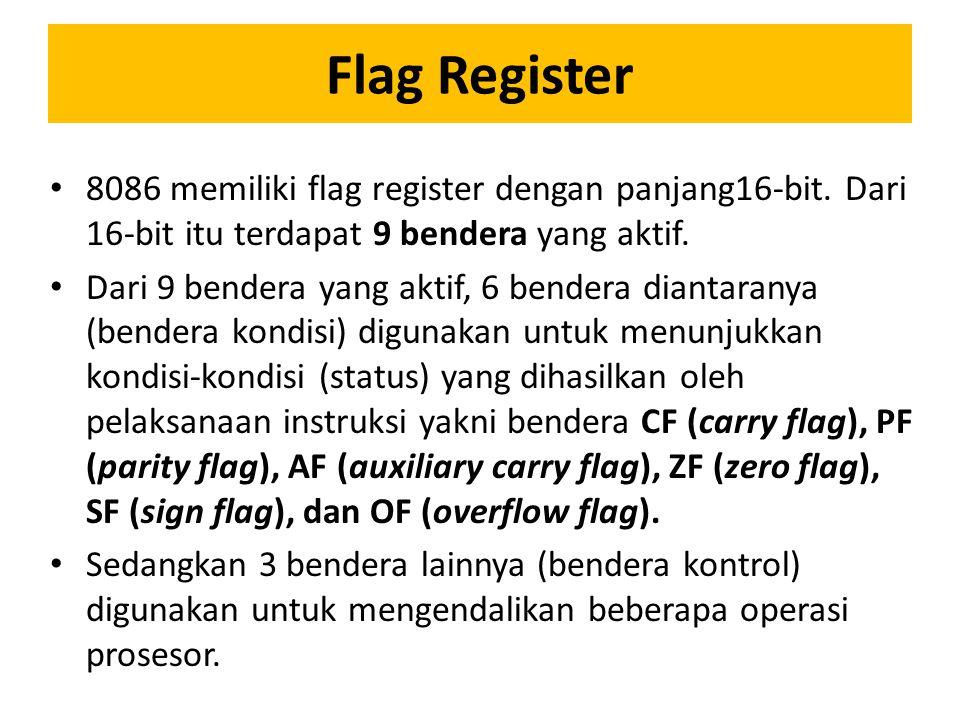Register Index & Pointer Kecuali SP, EU pada 8086 juga memiliki register base pointer (BP)16-bit, dan juga register index SI (source index) 16-bit, dan DI (destination index) 16-bit.