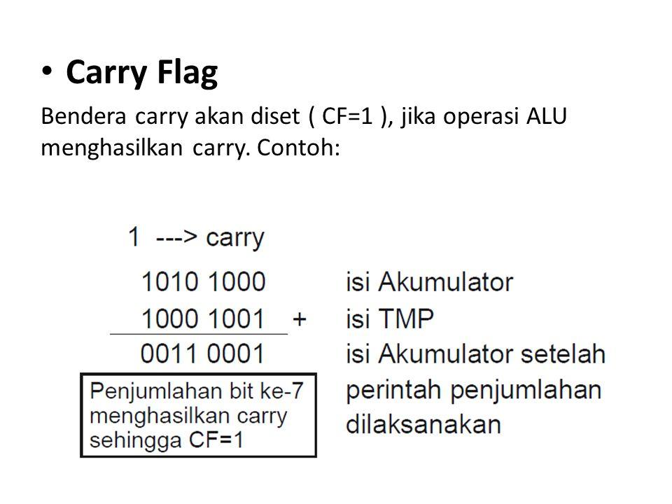 Parity Flag Bendera paritas (parity flag) akan diset (PF=1), jika pelaksanaan perintah oleh ALU menghasilkan jumlah bit 1 genap dan reset (PF=0) jika jumlah bit 1 ganjil.