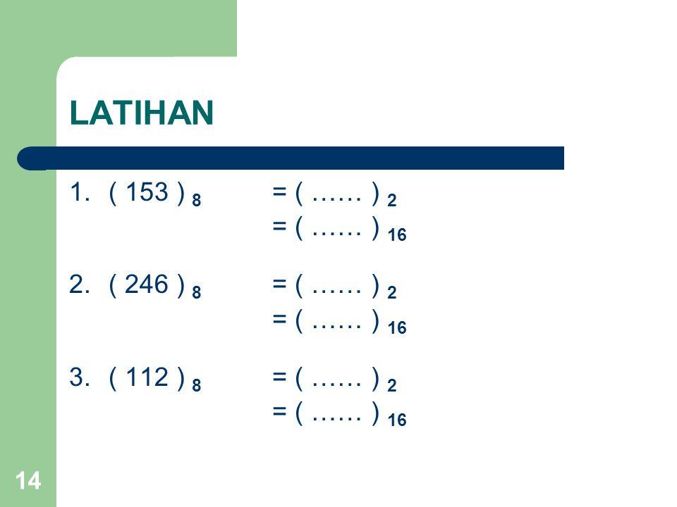 14 LATIHAN 1.( 153 ) 8 = ( …… ) 2 = ( …… ) 16 2.( 246 ) 8 = ( …… ) 2 = ( …… ) 16 3.( 112 ) 8 = ( …… ) 2 = ( …… ) 16