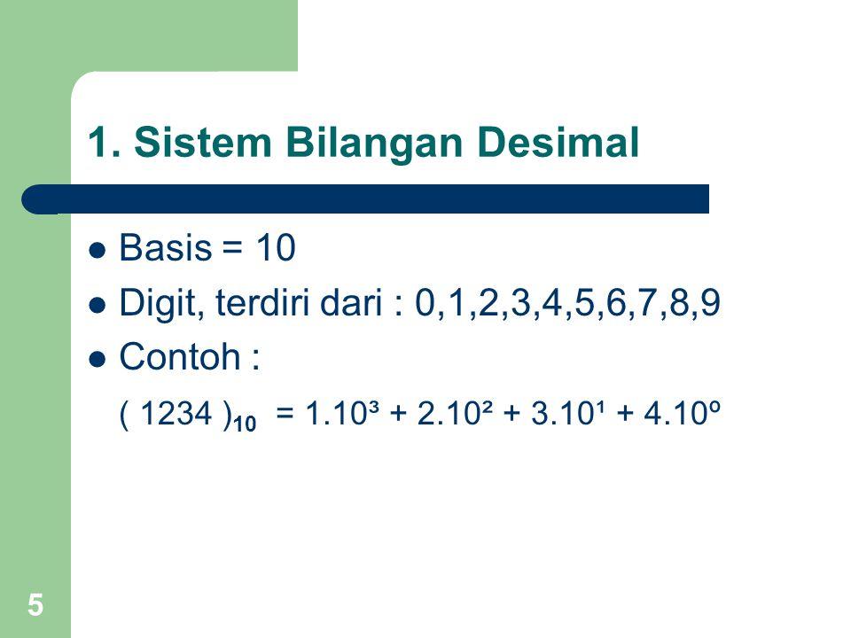 5 1. Sistem Bilangan Desimal Basis = 10 Digit, terdiri dari : 0,1,2,3,4,5,6,7,8,9 Contoh : ( 1234 ) 10 = 1.10³ + 2.10² + 3.10¹ + 4.10º
