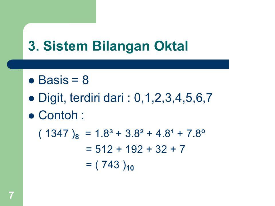 7 3. Sistem Bilangan Oktal Basis = 8 Digit, terdiri dari : 0,1,2,3,4,5,6,7 Contoh : ( 1347 ) 8 = 1.8³ + 3.8² + 4.8¹ + 7.8º = 512 + 192 + 32 + 7 = ( 74