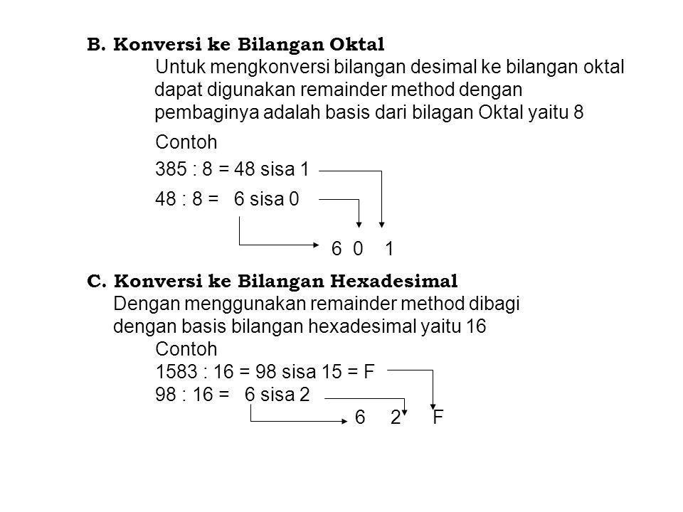 B. Konversi ke Bilangan Oktal Untuk mengkonversi bilangan desimal ke bilangan oktal dapat digunakan remainder method dengan pembaginya adalah basis da