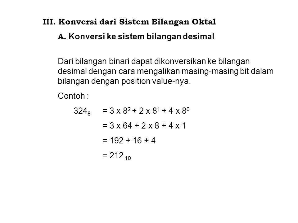 III. Konversi dari Sistem Bilangan Oktal A. Konversi ke sistem bilangan desimal Dari bilangan binari dapat dikonversikan ke bilangan desimal dengan ca
