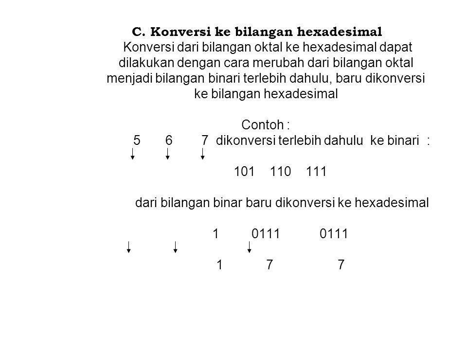 C. Konversi ke bilangan hexadesimal Konversi dari bilangan oktal ke hexadesimal dapat dilakukan dengan cara merubah dari bilangan oktal menjadi bilang