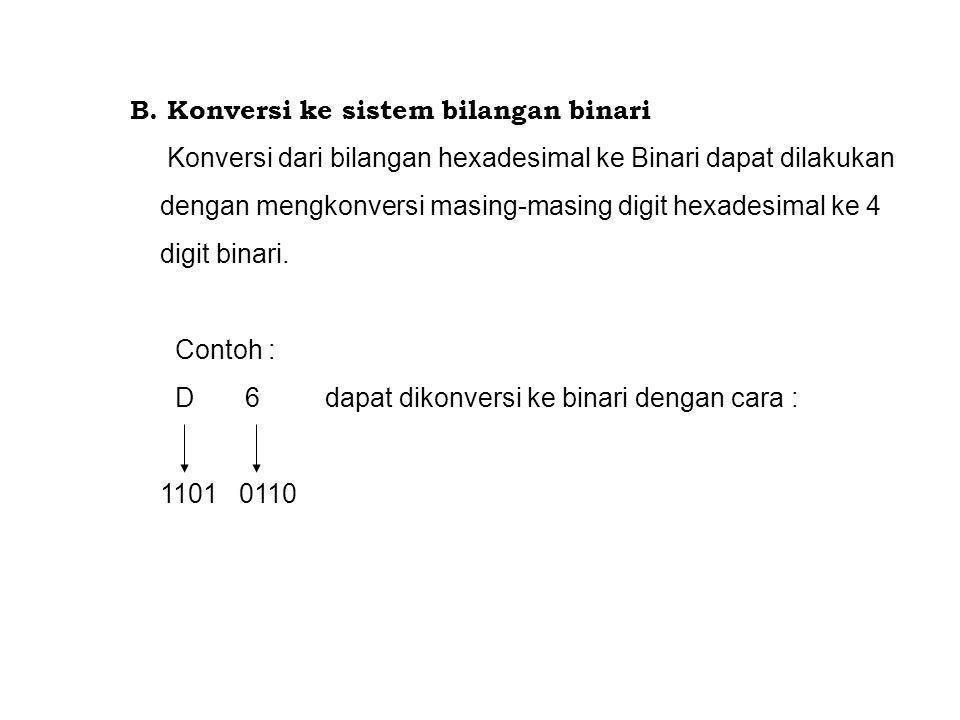 B. Konversi ke sistem bilangan binari Konversi dari bilangan hexadesimal ke Binari dapat dilakukan dengan mengkonversi masing-masing digit hexadesimal