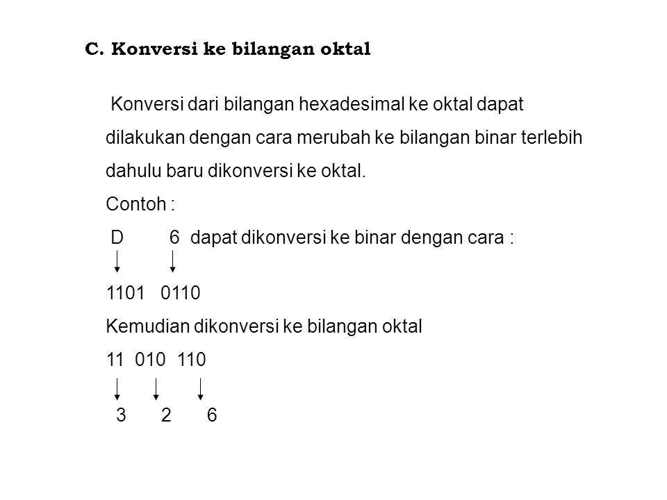 C. Konversi ke bilangan oktal Konversi dari bilangan hexadesimal ke oktal dapat dilakukan dengan cara merubah ke bilangan binar terlebih dahulu baru d
