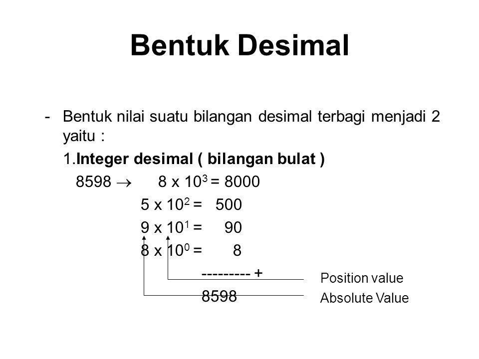 Bentuk Desimal -Bentuk nilai suatu bilangan desimal terbagi menjadi 2 yaitu : 1.Integer desimal ( bilangan bulat ) 8598  8 x 10 3 = 8000 5 x 10 2 = 5