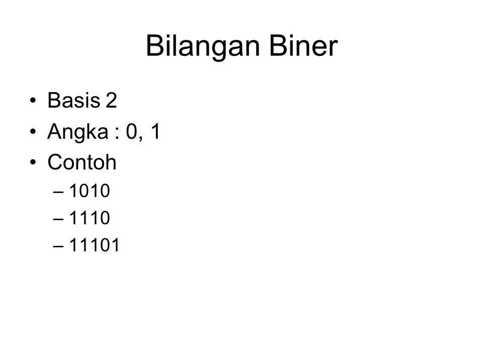 Pengelompokan Biner BIT (B) = 1 BIT (B) = 1 Bilangan Bilangan Biner Biner Nibble = 4 Bit Byte (B) = 8 Bit Word (W) = 16 Bit Double Word = 32 Bit Paragraf Paragraf = 128 Bit = 128 Bit Page = 256 Byte = 2048 Bit