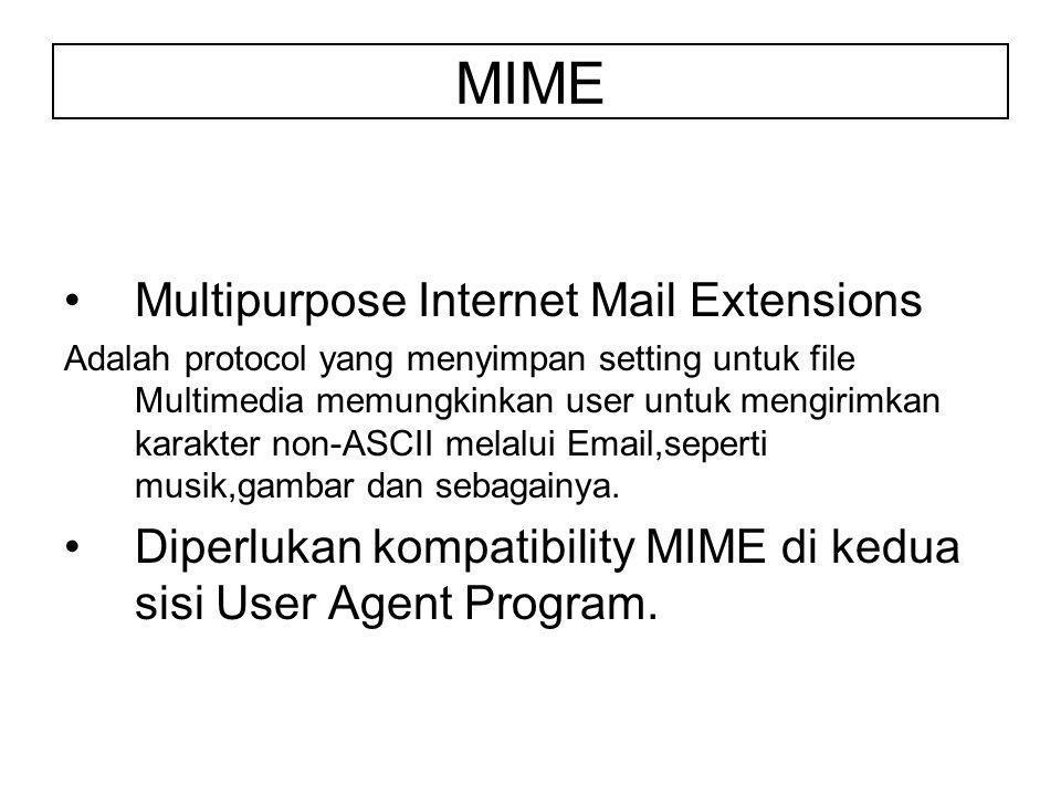 MIME Multipurpose Internet Mail Extensions Adalah protocol yang menyimpan setting untuk file Multimedia memungkinkan user untuk mengirimkan karakter non-ASCII melalui Email,seperti musik,gambar dan sebagainya.