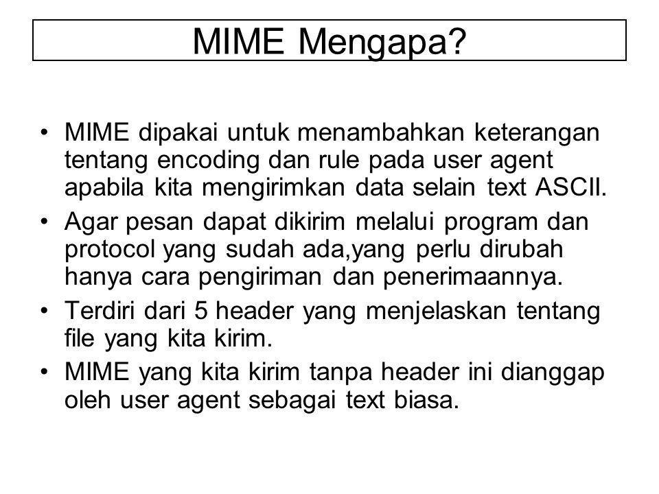 MIME dipakai untuk menambahkan keterangan tentang encoding dan rule pada user agent apabila kita mengirimkan data selain text ASCII.