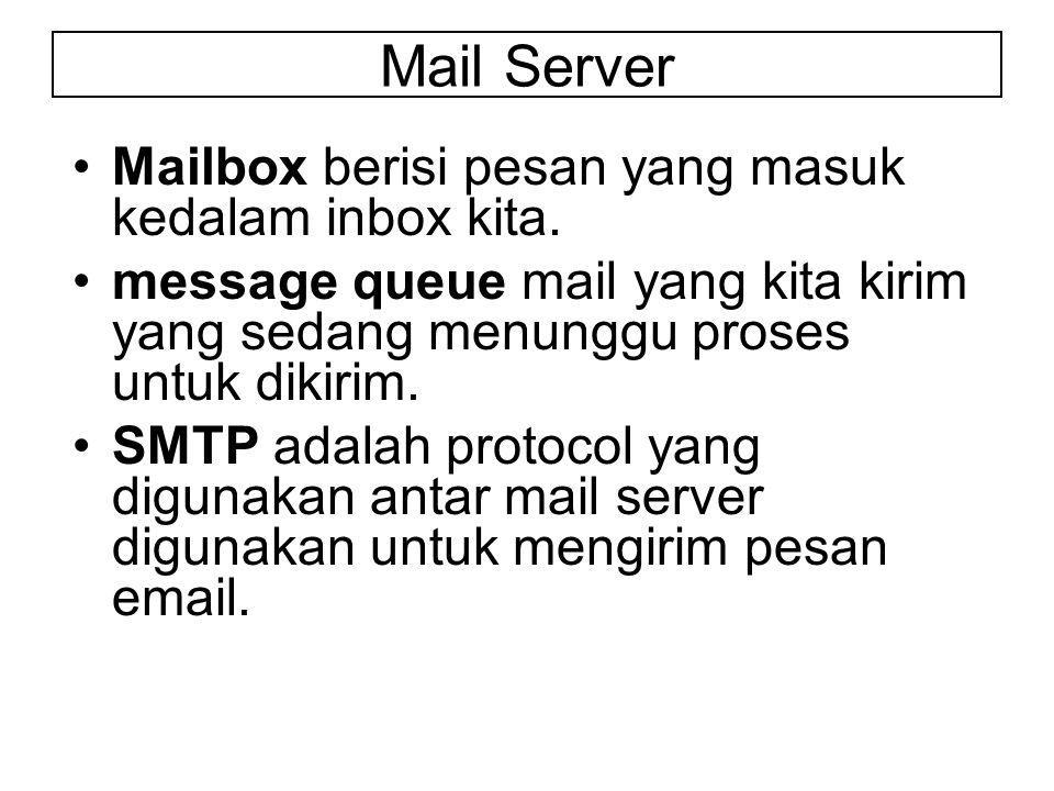 Mail Server Mailbox berisi pesan yang masuk kedalam inbox kita.